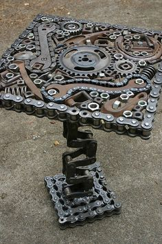 table made from chains and gears