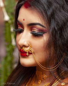 Beautiful Girl Body, Beautiful Girl Indian, Beautiful Women, Nose Ring Jewelry, Septum Ring, Weeding Makeup, Middle Eastern Makeup, Pretty Nose, Bengali Bride