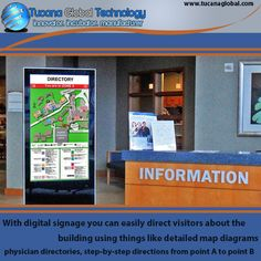 With #digitalsignage you can easily direct #visitors about the building using things like detailed #map #diagrams, physician #directories, step-by-step directions from point A to point B. #TucanaGlobalTechnology #Manufacturer #HongKong