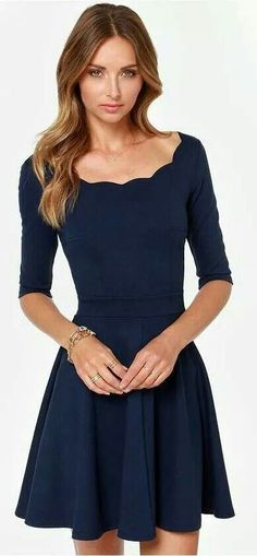 e5dc689a90 Shop Women s Lulu s Blue size M Dresses at a discounted price at Poshmark.  Description  EUC lulus boutique navy scalloped skater dress m work fit n  flare