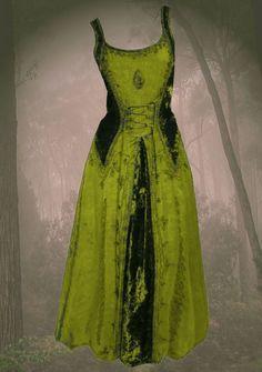 Gothic Mittelalter Kleid Samt bestickt Schnürung Guinerva 36 38 40 42