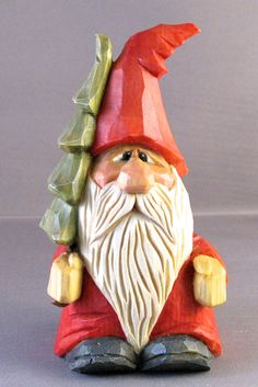 Santa wood carving Christmas tree caricature by cjsolberg on Etsy,