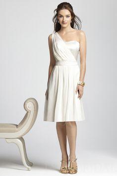 Ivory A Line One Shoulder Knee Length Chiffon Short Bridesmaid Dress