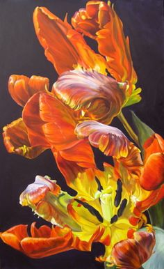 April Fire by Sarah Caswell 2008 Two large orange Parrot Tulips on violet ground.