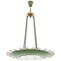 Italian Brass and Lacquered Aluminium Chandelier, 1950s | See more antique and modern Chandeliers and Pendants at https://www.1stdibs.com/furniture/lighting/chandeliers-pendant-lights