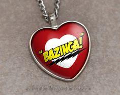 Bazinga, Buzinga, Buzzinga, Sheldon Cooper, Jim Parsons , The Big Bang Theory, Geeky Nerdy Fangirl Glass Necklace, Knock Knock Knock Penny
