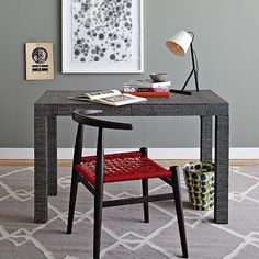 OMG...I NEED THIS IN MY LIFE  I love the Parsons Desk - Diamond Grass Cloth on westelm.com