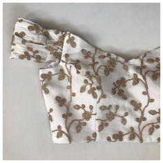 The Shoreline Blouse - Off Shoulder Brocade Blouse Designs, Saree Jacket Designs, Choli Blouse Design, Saree Blouse Neck Designs, Designer Blouse Patterns, Fancy Blouse Designs, Choli Designs, Off Shoulder Saree Blouse, Mode Abaya
