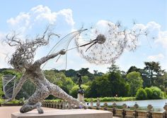 kaneki-kenkin: mymodernmet:  UK-based artist Robin Wight uses stainless steel wire to form stunning, dynamic sculptures of winged fairies dancing in the wind.  They look like beautiful warriors of the earth  Have always loved these…