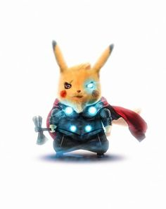 Thor Pikachu by Bosslogic - Marvel Universe Pikachu Pikachu, Deadpool Pikachu, O Pokemon, Pokemon Fusion, Pokemon Cards, Cute Pokemon Wallpaper, Cartoon Wallpaper, Marvel Art, Marvel Comics