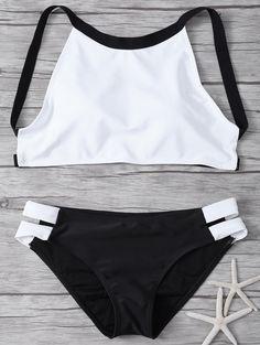 High Neck Padded Color Block Bikini WHITE AND BLACK: Bikinis   ZAFUL