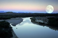 GORGEOUS! Unretouched photo of moonrise over the Rio Grande from mount of Santa Elena Canyon, Big Bend National Park, Texas.