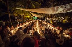 The dinner consisted of three long tables of 125 people each, creating a sea of candles.