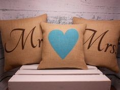 Mr and Mrs burlap pillow covers - set of 3       (by LaRaeBoutique)