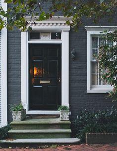 Glossy black door