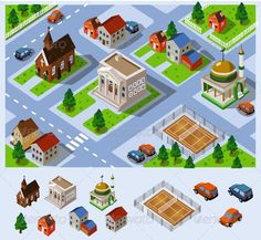 Buy Map of City Hall Set of detailed isometric vector by sukmaraga on GraphicRiver. Map of a small city. City Hall, church, mosque in the residential area. Set of very detailed isometric vector. Isometric Map, Isometric Design, Map Design, Vector Design, Design Ideas, Graphic Design, Layout Design, Map Vector, Free Vector Art