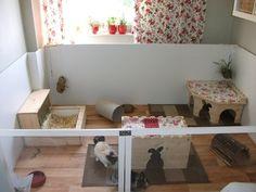 Rigtig flot indhegning til indendørs kaniner. God base til huskaniner. #huskanin #kaninbolig