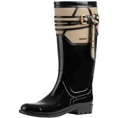 Burberry Belted Leather Detail Rain Boots