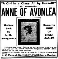 Ad for Anne of Avonlea, by L.M. Montgomery. The Boston Herald, 8 September 1909.