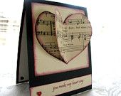 You Make My Heart Sing/ Valentine's Day Card/ Vintage Sheet Music Heart/ Black, Cream, Red