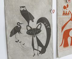 Ink & wit's new tea towel/wall hanging: love, foxy love...:)
