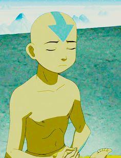 Avatar Aang meditating.