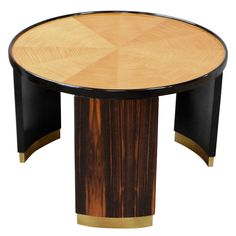 Mastercraft Round Art Deco Table. 1980's. They're claiming Bernard Rohne designed, but it's not. Baker had taken over by this time and allowed M'craft some autonomy in design but Rohne was known for the sculpted brass panel, limited edition pieces and this is not that.