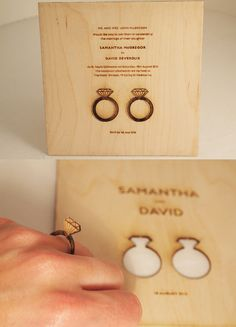Laser-Cut Wood Invitations Stir up excitement for your spring wedding with these laser-cut wood invitations – guests will love the removable rings! Image via Weddings Illustrated . Buy them at Melbourne Laser Cutter . Wood Invitation, Laser Cut Invitation, Laser Cut Wedding Invitations, Wedding Stationary, Invitation Design, Invitation Cards, Invitation Ideas, Invite, Laser Cutter Ideas