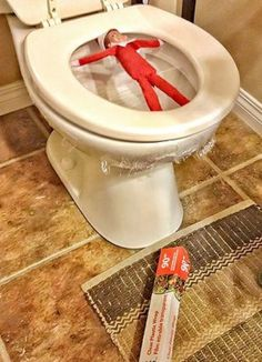 elf on the shelf funny toilet prank