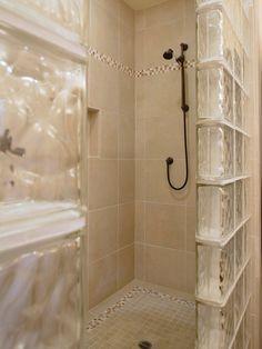 Glass Block Shower Enclosure Design, Pictures, Remodel, Decor and Ideas