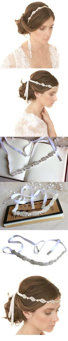 Healthcom Headpiece Handmade Crystals Beads with White Satin Ribbon Wedding Bride Hair Clasp Headband Hair Pins Hair Accessory
