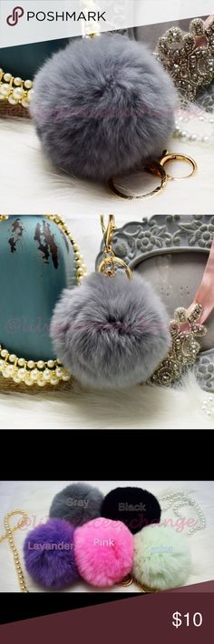 Grey pom pom fur ball keychain NWOT! Brand new!! Made with Rabbit fur Gold hardware.  Size: (approx) Ball Diameter = 8cm  Its a keychain, you can also use it to put as purse charm, key fob or whatever your heart desires.   Great gift for your family, friends or your self.  ** color might be slightly different cause of the lightning  Great for your Louis Vuitton, Prada, Fendi, Chanel, Michael Kors, Gucci, Coach Tory Burch, Kate spade, Marc jacobs and others purses/bags. Accessories Hair…