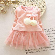 Beruang Pemimpin Bayi Perempuan Gaun Musim Gugur Musim Dingin lengan panjang putri gaun Bola benang Anak Pakaian Anak Party princess dresses