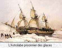 21- Jules Dumont d'Urville: l'Astrolabe prisonnier des glaces.- § DUMONT-DURVILLE:...par Dumont d'urville en l'honneur de l'hydrographe de l'expédition, Vincendon-Dumoulin, situées au N-E de l'archipel de Pointe-Géologie, à environ 4 km du continent près du Cap Géodésie. Ils y prélèvent des échantillons de roche, d'algues et d'animaux et en prennent possession en plantant le drapeau français. Dumont d'Urville annonce à son équipage que cette terre portera désormais le nom de Terre Adélie…