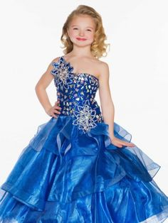 Wishesbridal Organza Girls Pageant Dress With Beading Blue Ball Gowns 7ed11a7e552b