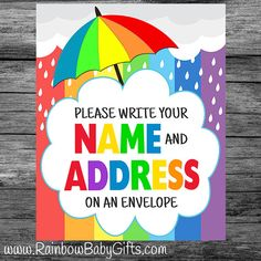 PRINTABLE Please Write Your Name And Address On An Envelope Sign, Rainbow  Baby Shower Sign, Baby Shower Party Sign, INSTANT DOWNLOAD