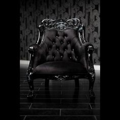BLACK VELVET BAROQUE TUFTED CHAIR WITH SWAROVSKI CRYSTALS, from Diva Rocker Glam. $2450