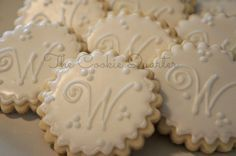 Monogram Letter Wedding Cookies, 1 dozen, Decorated Sugar Cookies, Cookie Favors, Wedding Bridal Shower Initial Letter Personalized
