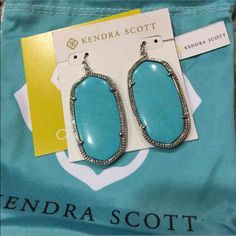 Kendra Scott Turquoise Danielle's NWT. Never worn Danielle earrings.  Turquoise and Silver. Retailed $80 with tax.   ❌ no trades Kendra Scott Jewelry Earrings