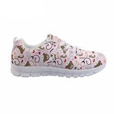 Nurse Pattern Pink Sneakers for Women Pink Sneakers, Pink Shoes, Nurse Shoes, Comfy Shoes, Mesh Fabric, Snug Fit, Dean, Mary, Lace Up