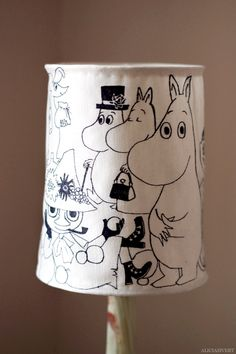 Moomin lamp shade by Alicia Sivertsson, 2015. Based on characters and illustrations by Tove Jansson.