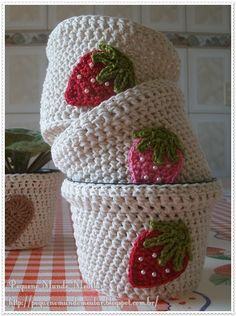 country shabby chic strawberry applique mini crochet storage basket for kitchen , or planter pots pattern idea to make