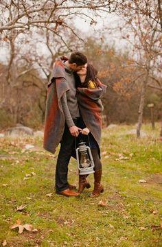 Cute idea for a fall engagement shoot