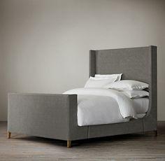 """Grayson Upholstered Sleigh 66"""" Bed in vintage velvet in charcoal"""