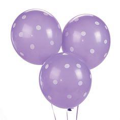 Purple Polka Dot Latex Balloons - OrientalTrading.com