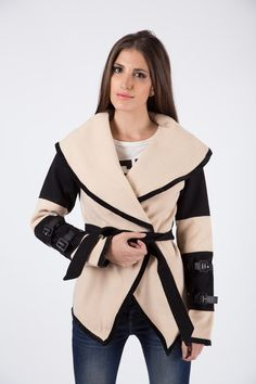 Crossover Winter Wrap - Deep V neckline - Self tie fastening - Wrap over detail - Leather bound buckle detail on arms Crossover, Arms, Neckline, Deep, Coats, Detail, Winter, Leather, Jackets