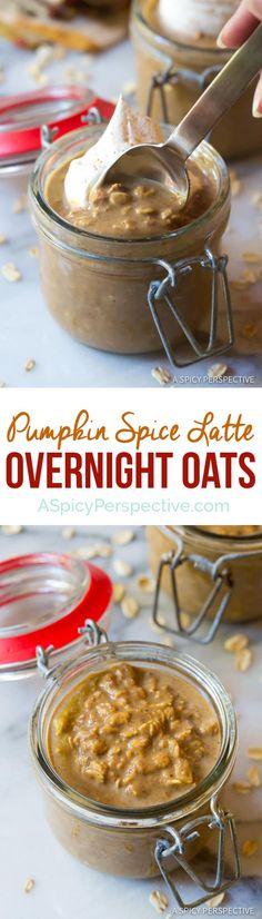 Easy Pumpkin Spice Latte Overnight Oatmeal Recipe | ASpicyPerspective.com