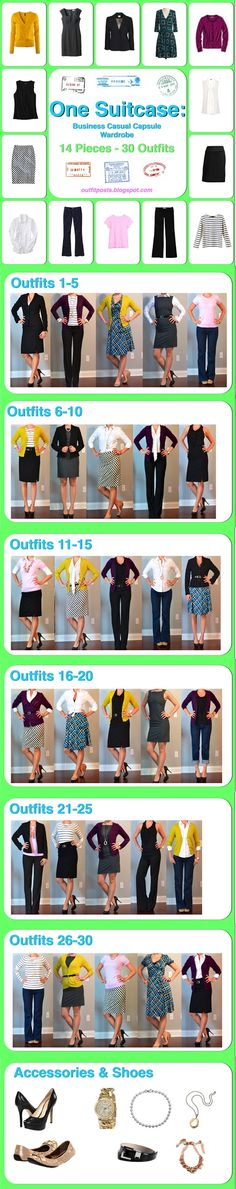 For the traveling girl or the girl who is just getting started buying business casual clothes!  This pic is super useful!