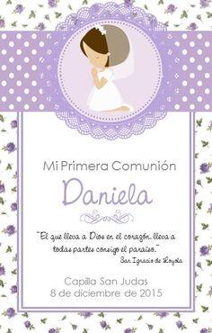 Tarjeta primera comunion Communion Invitations, Baptism Party, First Communion, Diy Scrapbook, Baby Shower, Frame, Cards, Confirmation, Eucharist