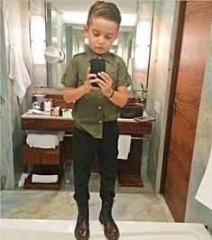 Meet The World's Most Stylish Toddler, Alonso Mateotrendeezy.com #boots #army #combatboots #slimfit #selfie #coif #bathroom #kidfashion #alonsomateo #instagram